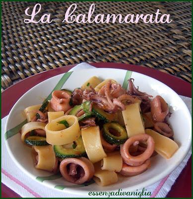 Calamarata di calamari, zucchine e pomodorini confit