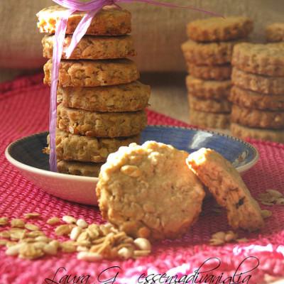Biscotti ai fiocchi d'avena e riso soffiato, caramellati