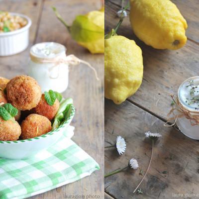 Polpettine di Ceci e Pollo alla Menta e Limone con Salsa di Kefir al Timo