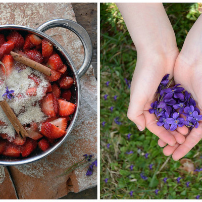 Marmellata di fragole e viole